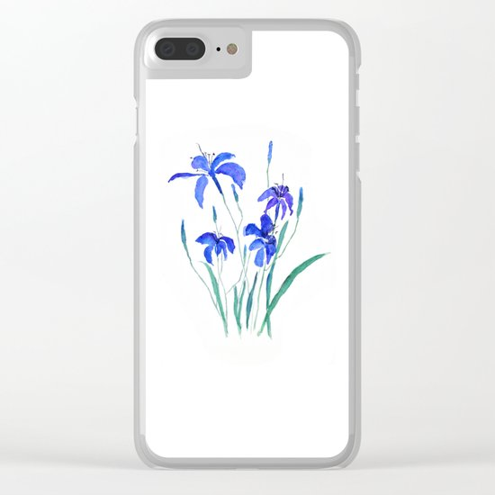 blue day lily Clear iPhone Case