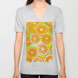 juicy orange pattern abstract with yellow and green background Unisex V-Neck