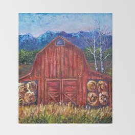 Red Barn by Lena Owens Throw Blanket