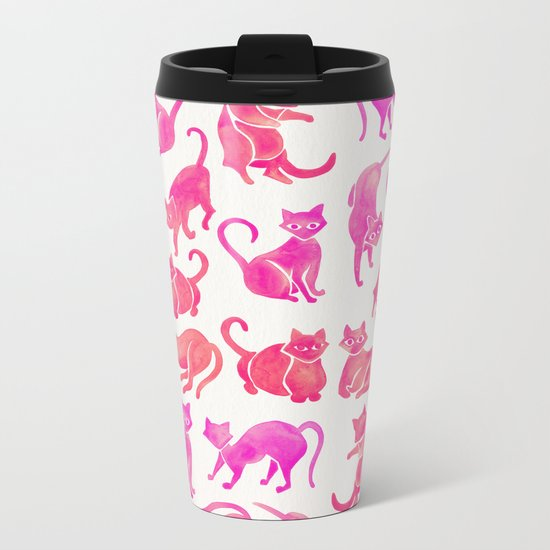 Cat Positions – Pink Ombré Palette Metal Travel Mug