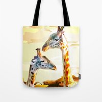 giraffes Tote Bags featuring Giraffes by Eric Bassika