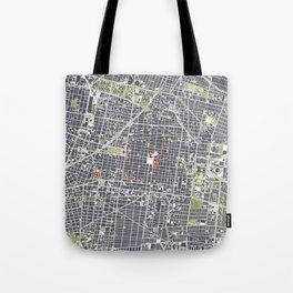 Mexico city map engraving Tote Bag