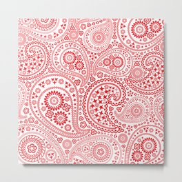 Red and White Paisley Pattern Metal Print