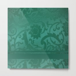 FLORAL SHADOW TAPESTRY | turquoise Metal Print