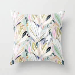 Pastel Shimmer Feather Leaves on Gray Throw Pillow