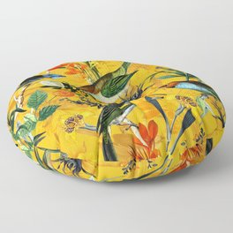 Vintage Flowers And Colorful Birds In Exotic Yellow Botanical Garden Floor Pillow