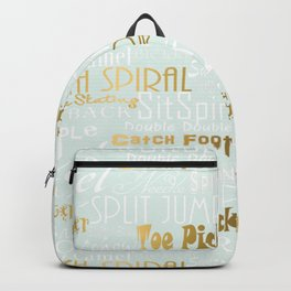 Pastel Blue with Gold Accents Figure Skating Subway Style Typographic Design Backpack