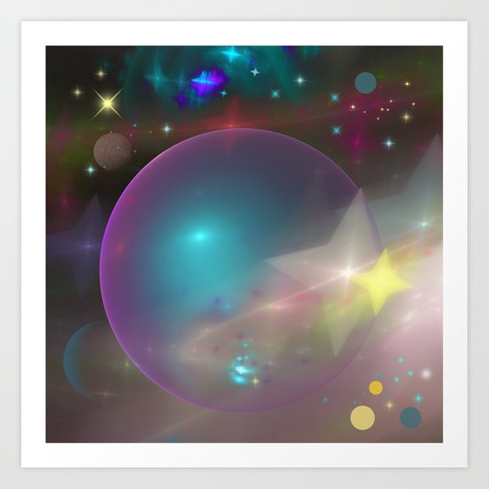 Dreamy galaxy with planets and shining stars Art Print