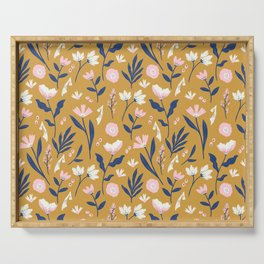 Mustard Floral Pattern Serving Tray