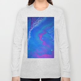 Fantasy II - Bright Sapphire Blue Ultra Violet Purple Fluid Abstract Long Sleeve T-shirt