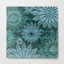 High Definition Mandala Ice Crystals Metal Print