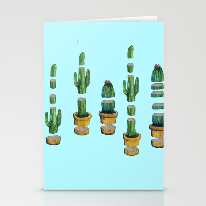 cut cactus on blue Stationery Cards