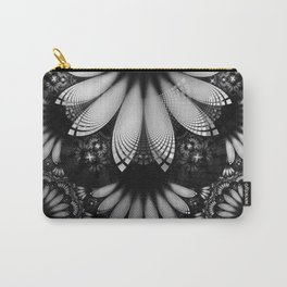 Shikoba Fractal -- Glittering Black and White Feathers in the Night Carry-All Pouch