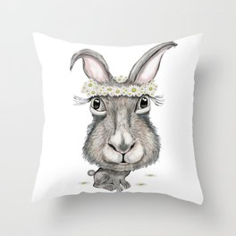 Rabbit with Flower Throw Pillow