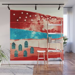 Red landscape Wall Mural