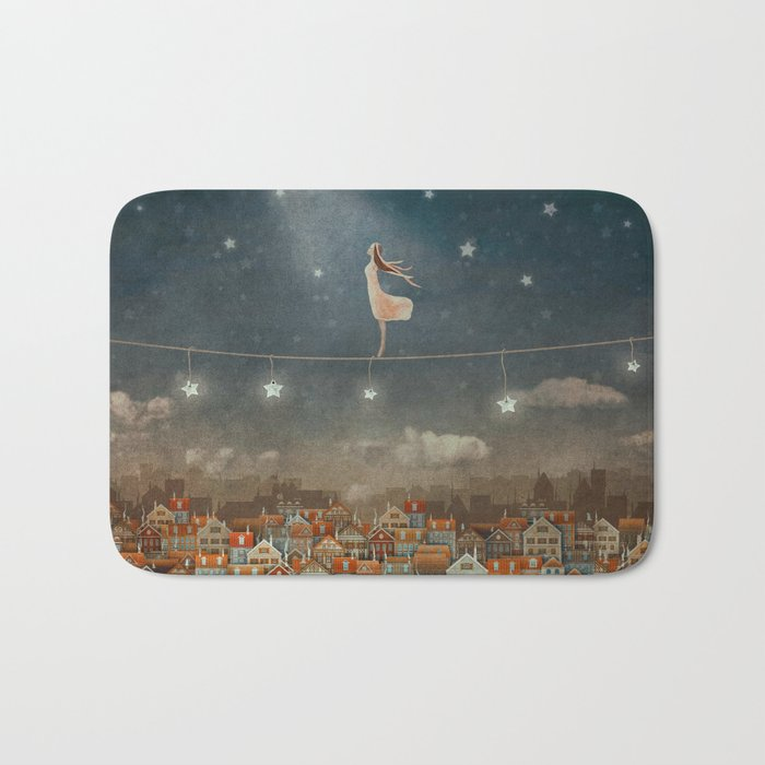 Illustration of  cute houses and  pretty girl   in night sky Bath Mat