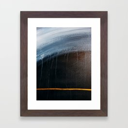 Horizon [2]: a pretty minimal abstract painting in blue and gold by Alyssa Hamilton Art Framed Art Print