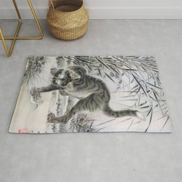 Kawanabe Kyosai - Cat Catching A Frog - Digital Remastered Edition Rug