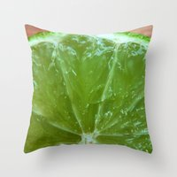 lime green Throw Pillows featuring Lime Green and Fresh by BluedarkArt