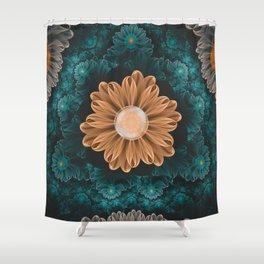Beautiful Paradise Chrysanthemum of Orange & Aqua Shower Curtain