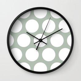 Large Polka Dots: Neutral Green Wall Clock