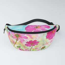 Symphony In Pink, Watercolor Wildflowers Fanny Pack