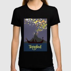 Tangled Black Womens Fitted Tee LARGE