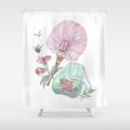 Fan and handbag in the style of Marie Antoinette Shower Curtain