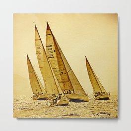 sailboat race in mediterranean sea Metal Print