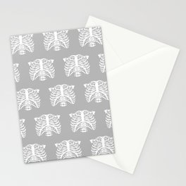 Human Rib Cage Pattern Gray Stationery Cards
