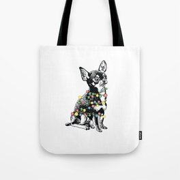 Chihuahua dog with colorful festoon Tote Bag