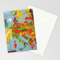 Abstract European Travel Map Stationery Cards
