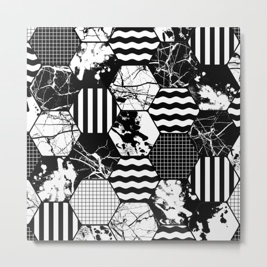 Hexual - Black and white, honeycomb, hexagon pattern, stripes, paint splats, grid and marble Metal Print