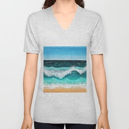Beach Painting — Ocean Painting — Nautical Acrylic Painting — Ocean Eaves Crashing Design Unisex V-Neck