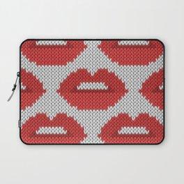 Lips pattern - white Laptop Sleeve