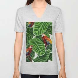 tropical leaves macaw pattern Unisex V-Neck