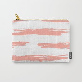 Pretty Pink Brush Stripes Horizontal Carry-All Pouch