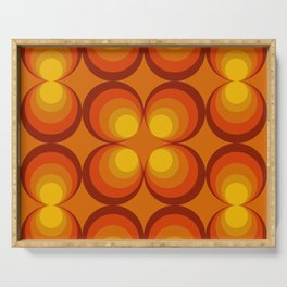 70s Circle Design - Orange Background Serving Tray