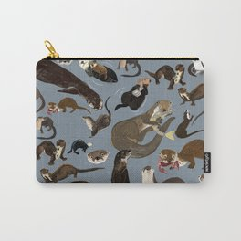 Otters of the World pattern in grey Carry-All Pouch