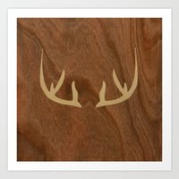 antler Art Prints featuring Antler by Annie Skrmetti