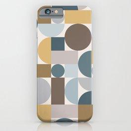 Mid Century Modern Geometric Blue Gold iPhone Case