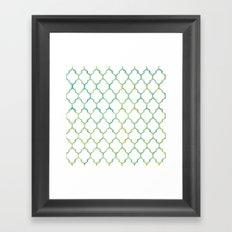 Green, Yellow & Turquoise Lantern Arabesque Pattern Framed Art Print