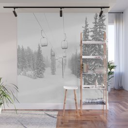 Empty Chairlift // Alone on the Mountain at Copper Whiteout Conditions Foggy Snowfall Wall Mural