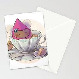 Poppette at tea time Stationery Cards