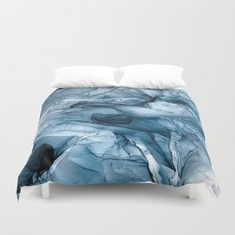 Churning Blue Ocean Waves Abstract Painting Duvet Cover