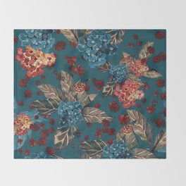 Deep moody floral watercolor - dark red,  rich dark blue and brown Throw Blanket