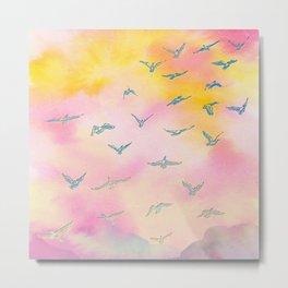 Sunset Birds Metal Print