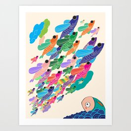 The fish that wished to fly Art Print