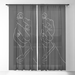 Alas, Poor Sparrow! | White on Black Sheer Curtain