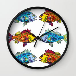 Red and Blue Rockfish Wall Clock